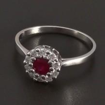 Prsten s přírodním rubínem a brilianty 8022