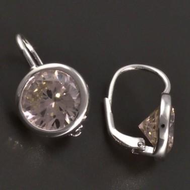 Stříbrné náušnice s růžovým zirkonem 8028 č.2