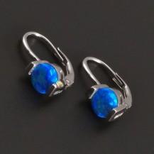 Stříbrné náušnice s modrým kulatým opalitem 8030