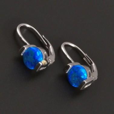 Stříbrné náušnice s modrým kulatým opalitem 8030 č.1