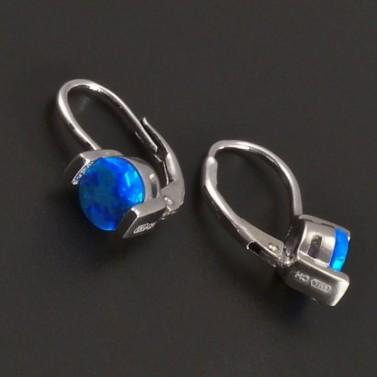 Stříbrné náušnice s modrým kulatým opalitem 8030 č.2