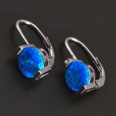 Stříbrné náušnice s modrým opalitem 8035 č.1