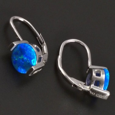 Stříbrné náušnice s modrým opalitem 8035 č.2
