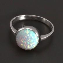 Prsten s opálem bílé zlato 8054