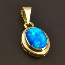 Přívěs ze žlutého zlata s modrým opálem 8064