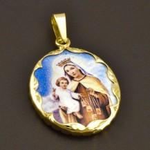 Zlatý přívěsek porcelánová Madona s Ježíškem 8070