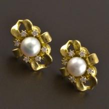 Zlaté náušnice s perlou a brilianty 8087