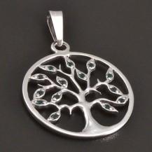 Stříbrný strom života s tmavězelenými zirkony 8090