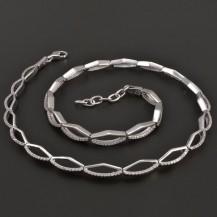 Rhodiovaný stříbrný náhrdelník 8096