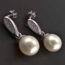 Zlaté náušnice s kultivovanou perlou 8119