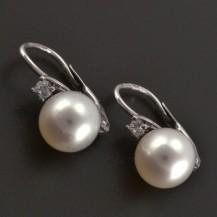 Zlaté náušnice osazené přírodní perlou a diamantem 8129