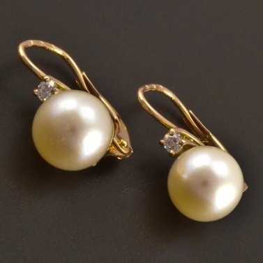 Červené náušnice s perlou a diamantem 8131 č.1