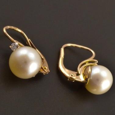 Červené náušnice s perlou a diamantem 8131 č.2