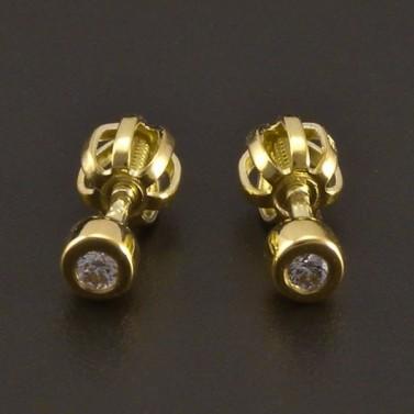 Zlaté náušnice pecky s diamantem 8134 č.1
