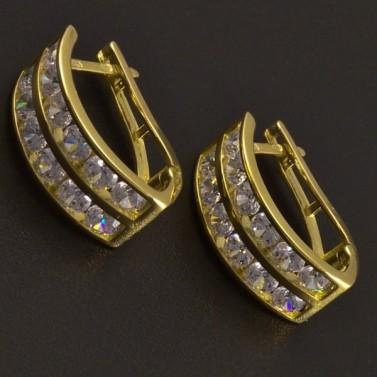 Slušivé zlaté náušnice se zirkony 8145 č.1