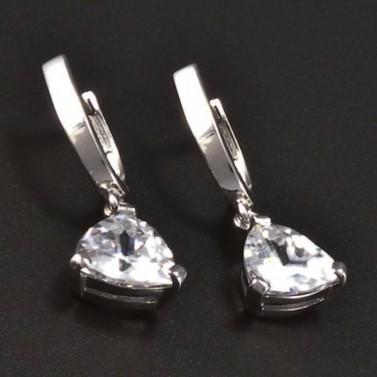 Stříbrné náušnice s trojúhelníkovým zirkonem 8152 č.1