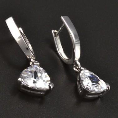 Stříbrné náušnice s trojúhelníkovým zirkonem 8152 č.2