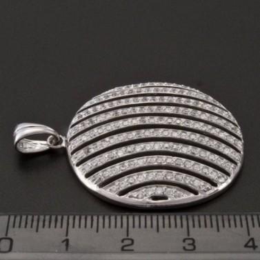 Stříbrný přívěsek se zirkony tvar kruhu 1020 č.3
