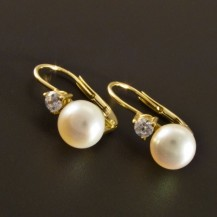 Zlaté náušnice perla menší zirkon 2182