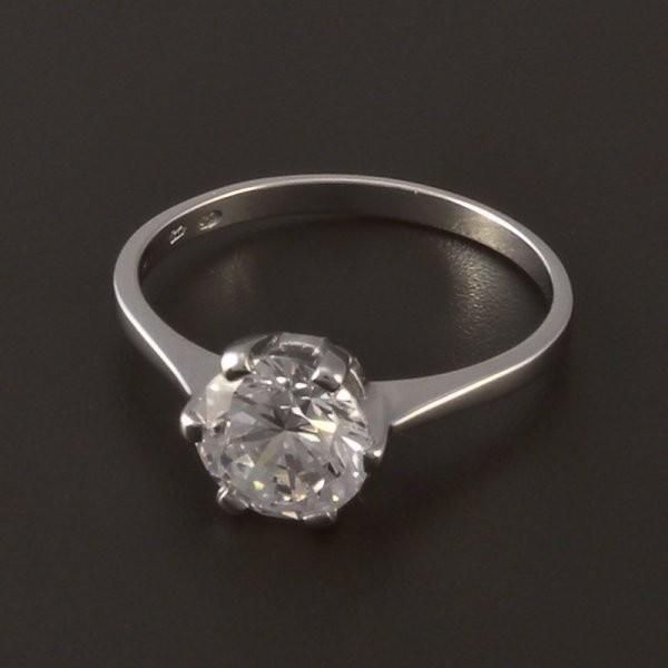 Elegantni Zasnubni Prsten Bile Zlato Goldpoint Cz