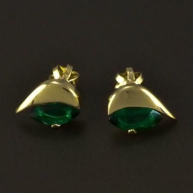 Zlaté náušnice smaragd zelený 4866 č.1