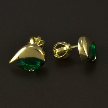 Zlaté náušnice smaragd zelený 4866 č.2