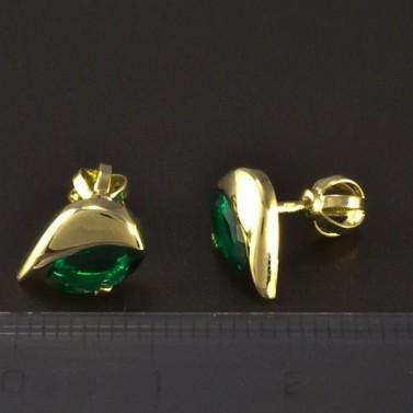 Zlaté náušnice smaragd zelený 4866 č.3
