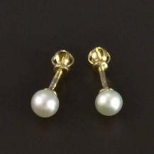 Zlaté jednoduché náušnice perla 5155
