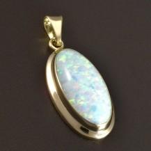 Zlatý přívěsek bílý oválný opál 5816