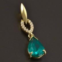 Zlatý přívěsek kapkový smaragd 6332