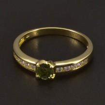 Zlatý prsten s vltavínem 6542