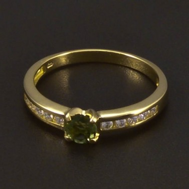 Zlatý prsten s vltavínem 6542 č.1