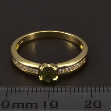 Zlatý prsten s vltavínem 6542 č.2