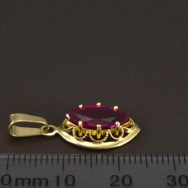 Zlatý přívěsek s červeným rubínem 6640 č.2