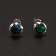 Stříbrné náušnice zelený opál 6977