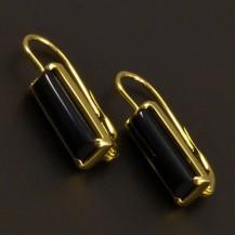 Onyxové zlaté náušnice 7006