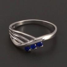 Stříbrný prsten s modrými zirkony 7199
