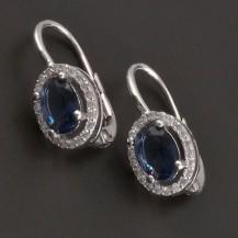 Náušnice s modrým kamenem 7452