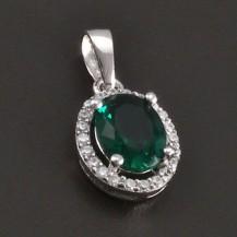 Smaragdový stříbrný přívěs 7454