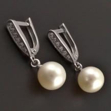 Náušnice z bílého zlata s perlou 8136
