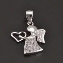 Přívěšek stříbrný anděl se srdíčkem 8187