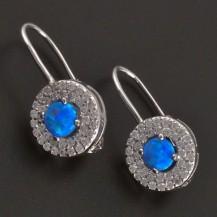 Stříbrné náušnice s drobným modrým opálem 8233