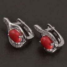 Stříbrné náušnice s červeným korálem a zirkony 8270