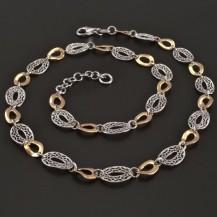 Stříbrný článkový náhrdelník červeně zlacený 8285