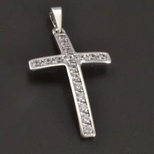 Zlatý přívěšek ve tvaru křížku s bílými zirkony 8306