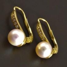 Zlaté náušnice s perlou a zirkony 8318
