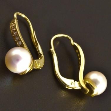 Zlaté náušnice s perlou a zirkony 8318 č.2