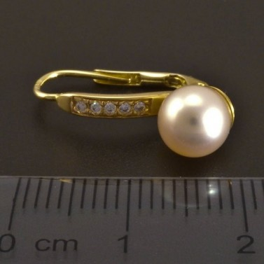 Zlaté náušnice s perlou a zirkony 8318 č.3