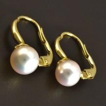 Zlaté náušnice s přírodní kultivovanou perlou 8320