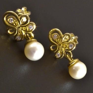 Zlaté náušnice s malou kultivovanou perlou 8322 č.1